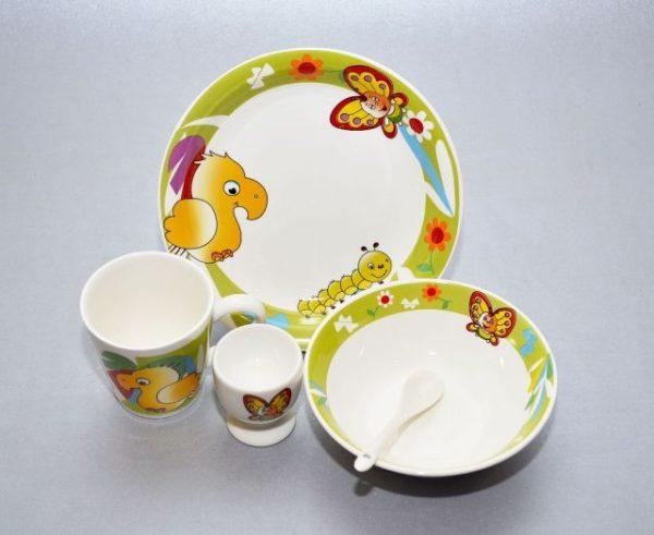 5-ne lastekomplekt Papagoi Комплект детской посуды Попугай