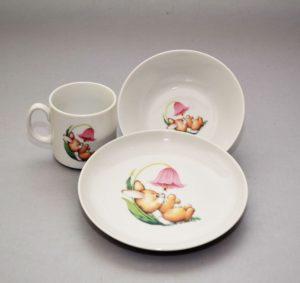 Lauanõude komplekt lastele Комплект детской посуды Кролик